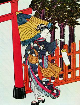 Ночное посещение в бурю синтоистского храма. 1760-е