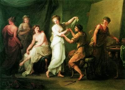 Зевксис выбирает модель для Елены Троянской. 1775