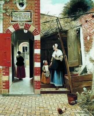 Служанка с ребенком во дворике. 1658