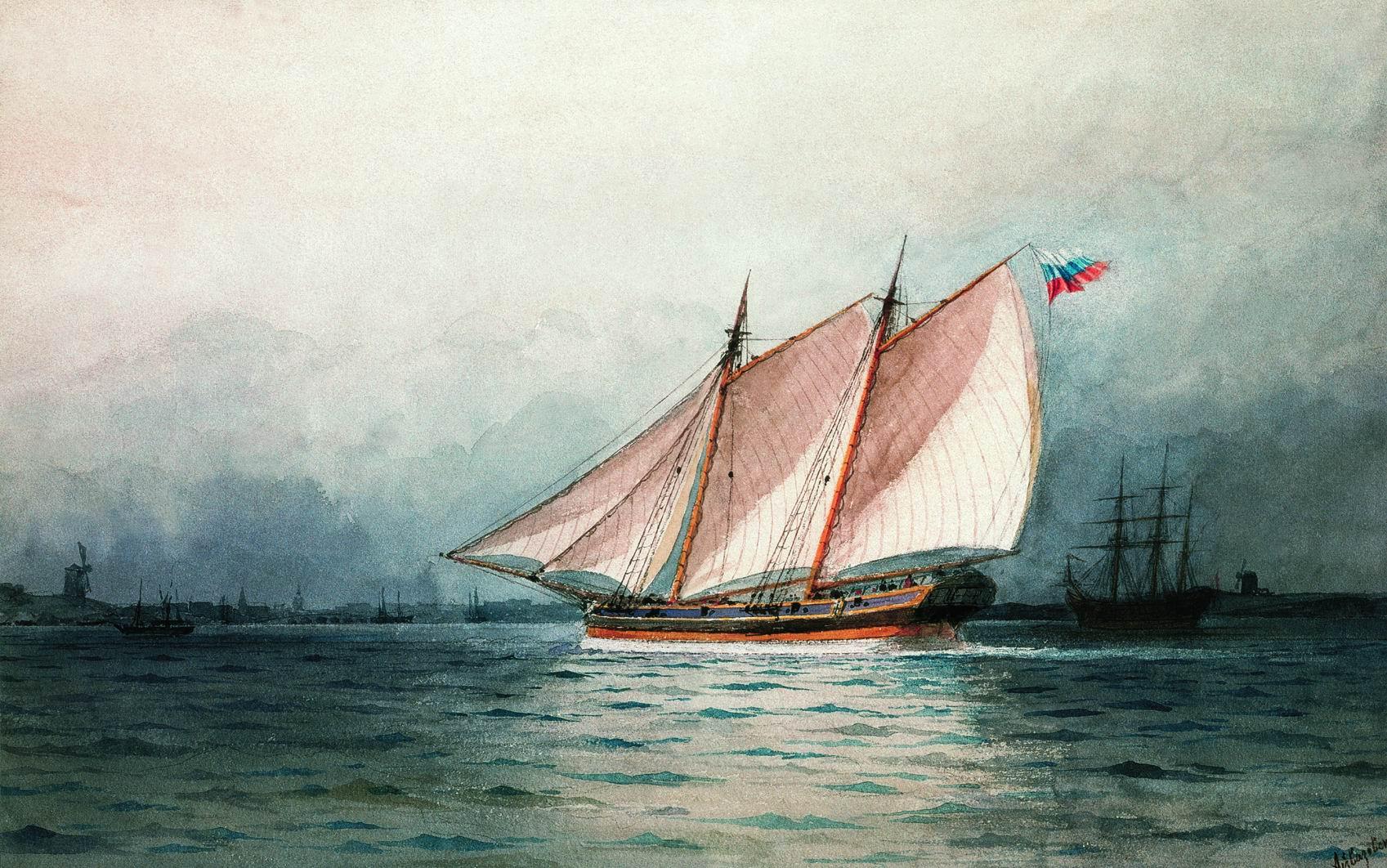 Айвазовский. Шхуна под парусами