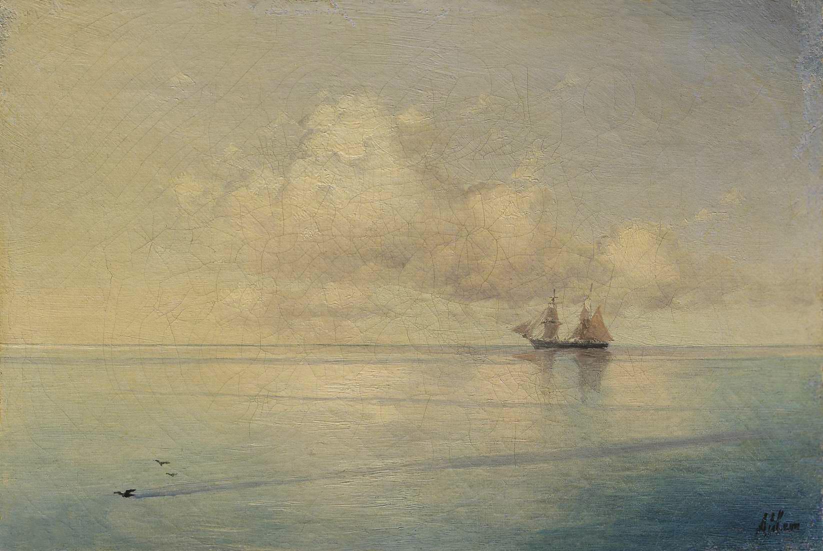 Айвазовский. Пейзаж с парусником