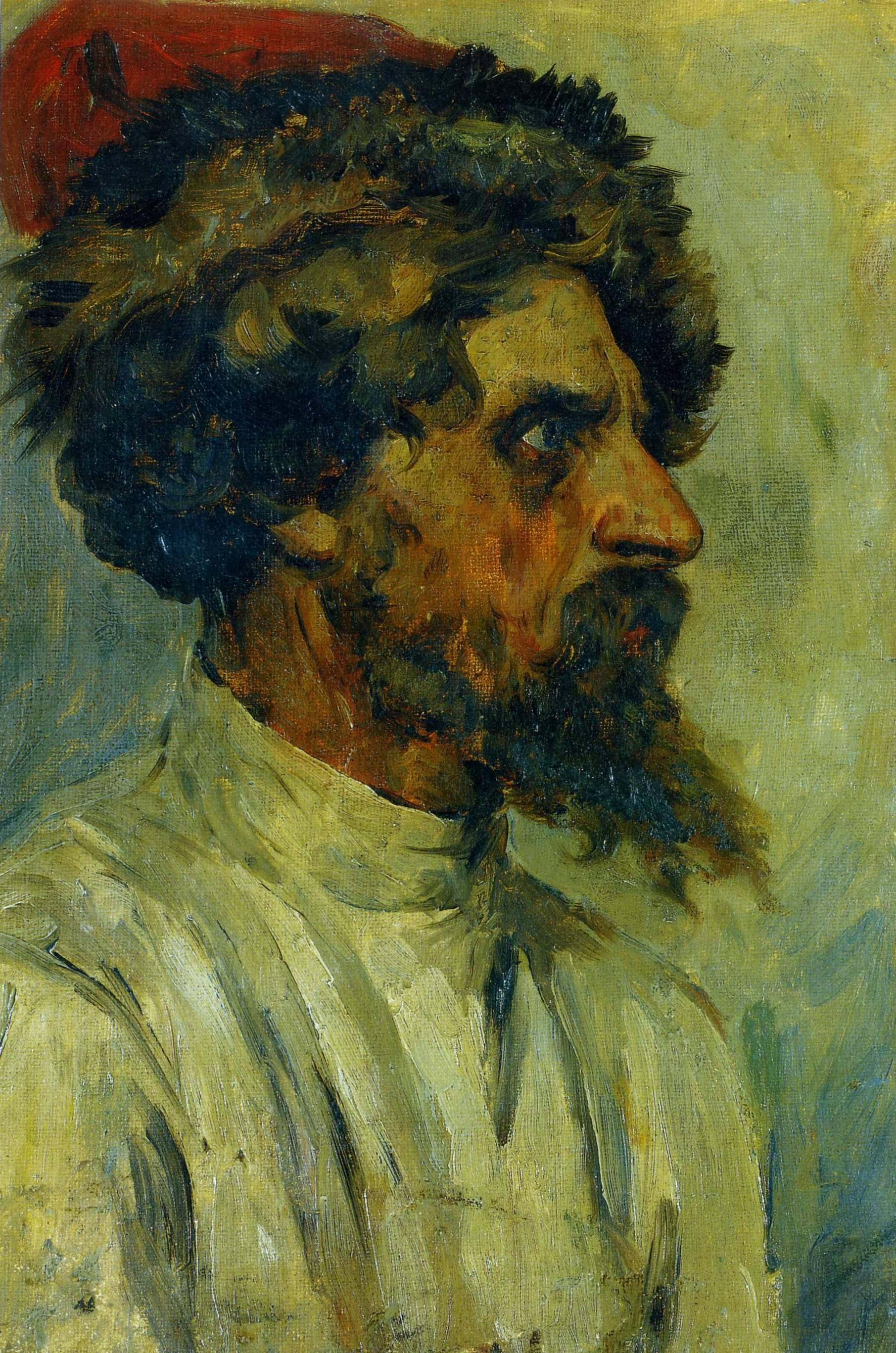 Суриков. Рыжий стрелец в шапке . 1881