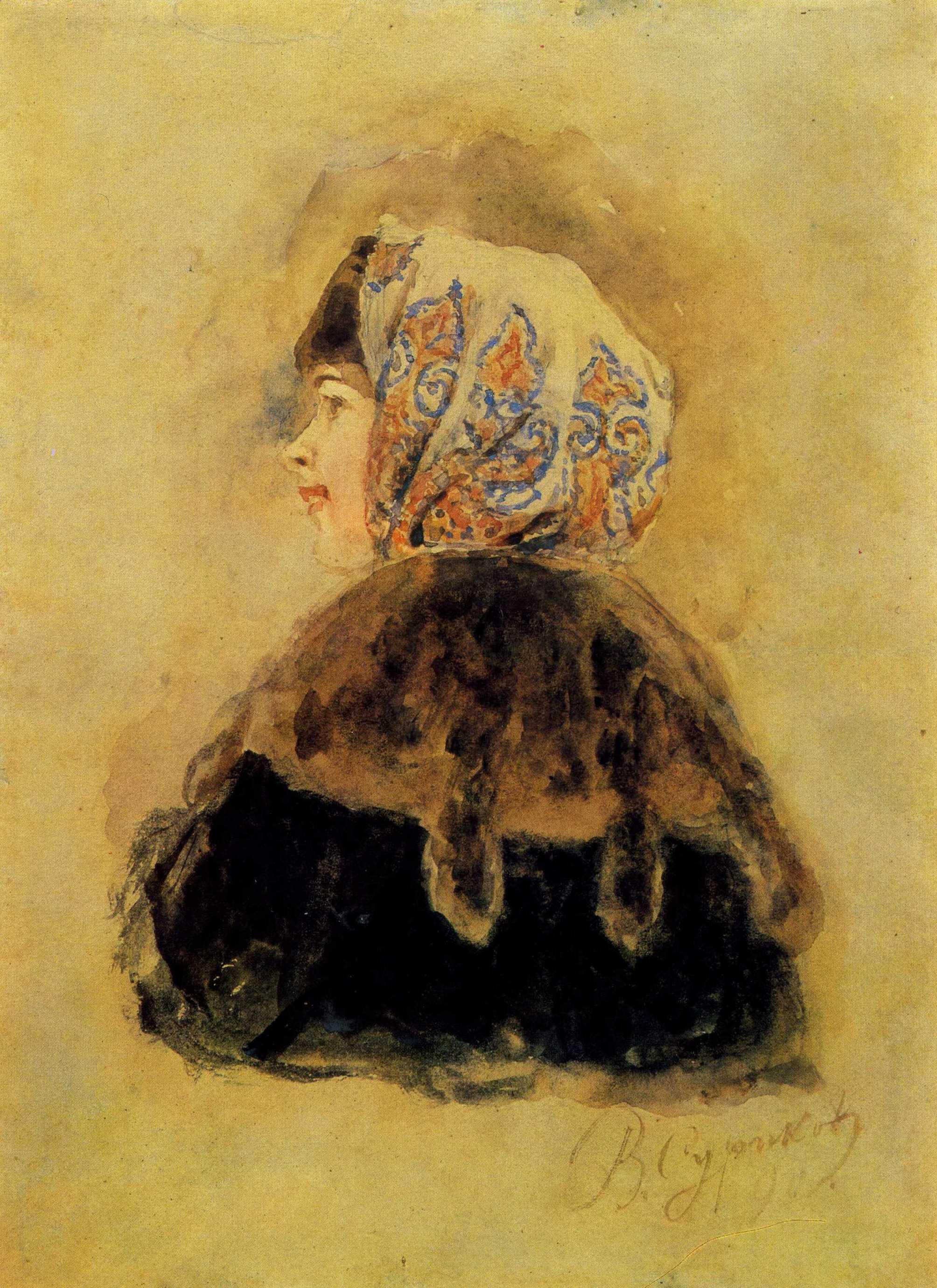 Суриков. Голова боярышни. 1890