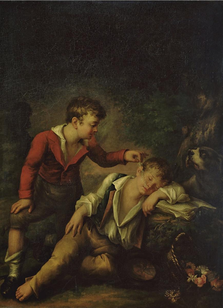 Соколов Т.. Мальчик будит перышком спящего товарища. 1811
