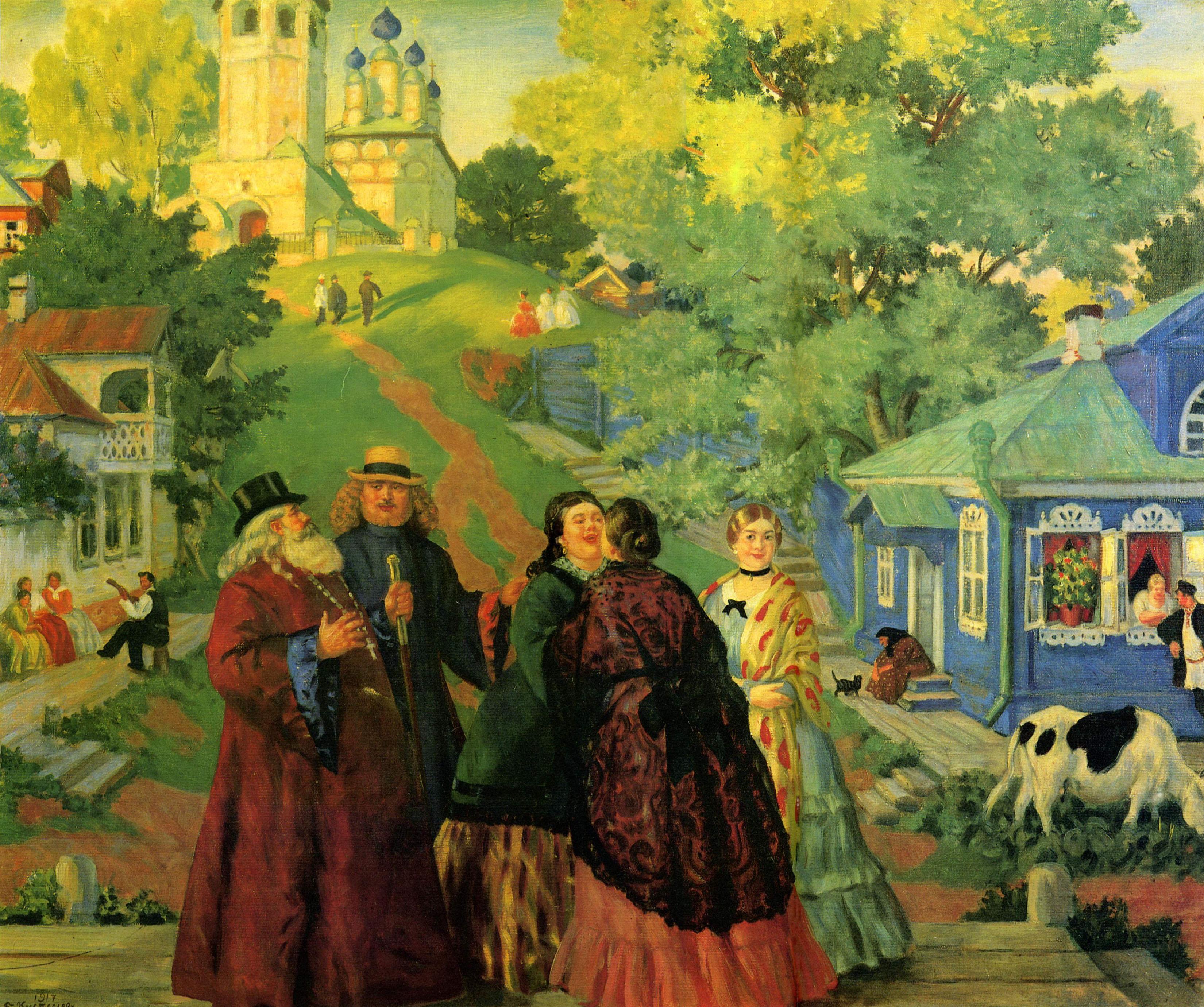 Кустодиев Б.. Встреча (Пасхальный день). 1917