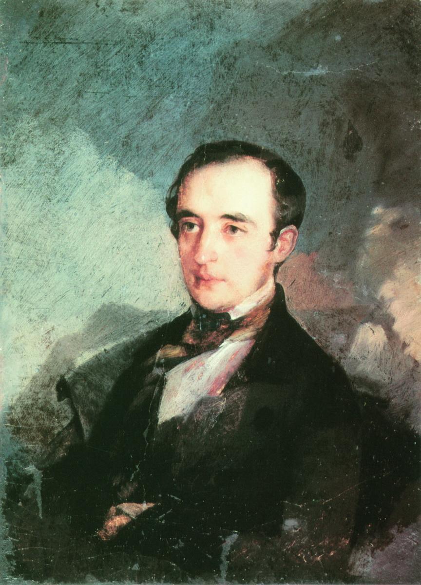 Макаров. Портрет неизвестного в синем сюртуке (В.Ф.? Одоевский). 1840-е