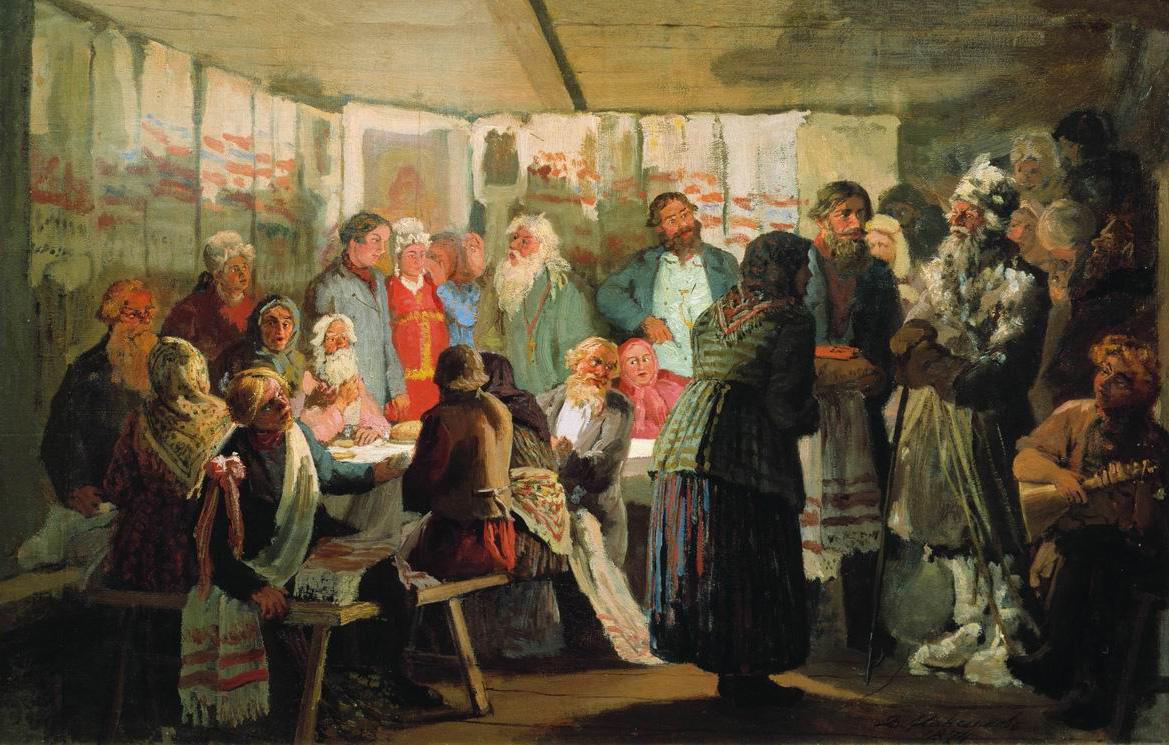 Максимов В.. Приход колдуна на крестьянскую свадьбу. 1874
