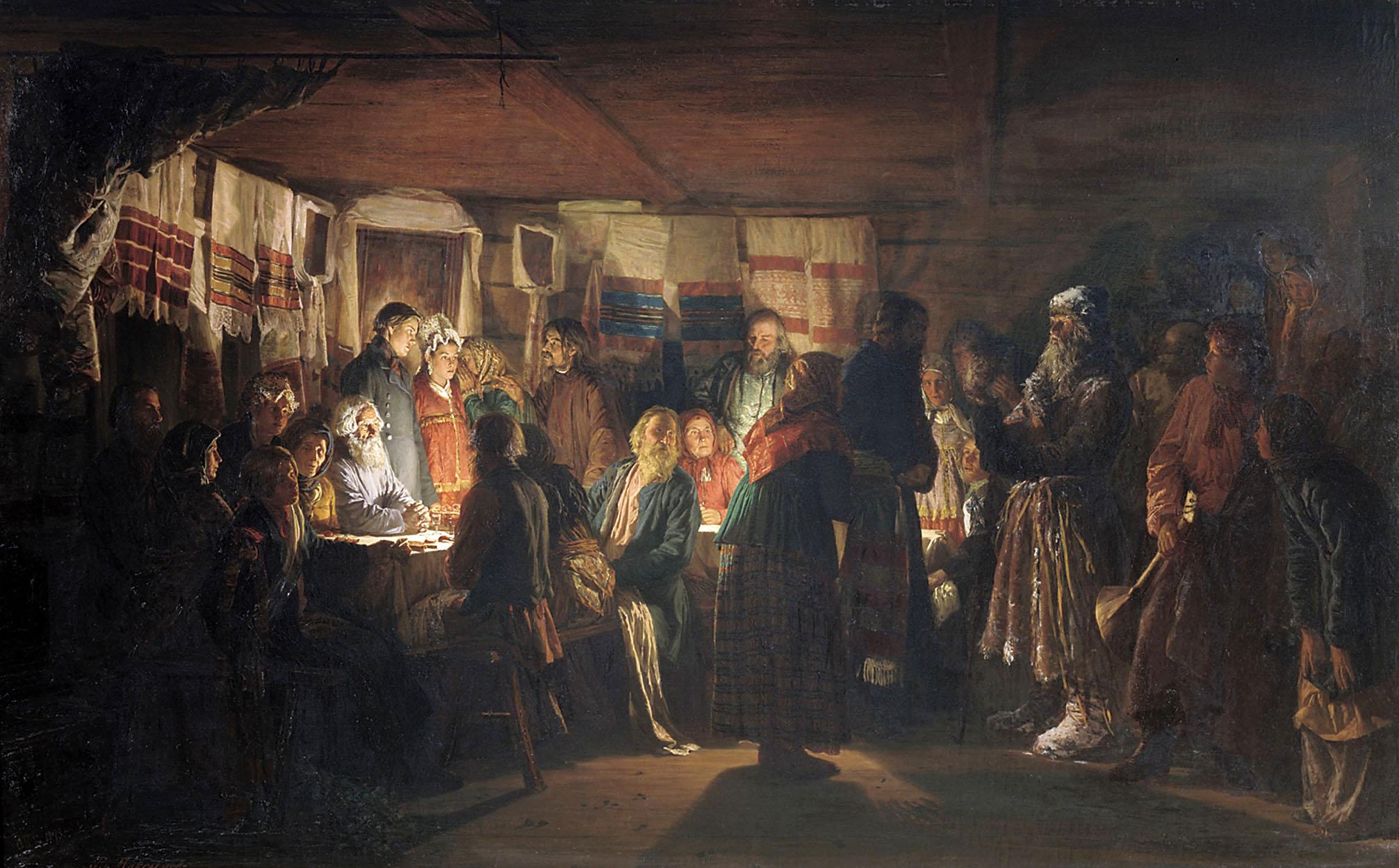 Максимов В.. Приход колдуна на крестьянскую свадьбу. 1875