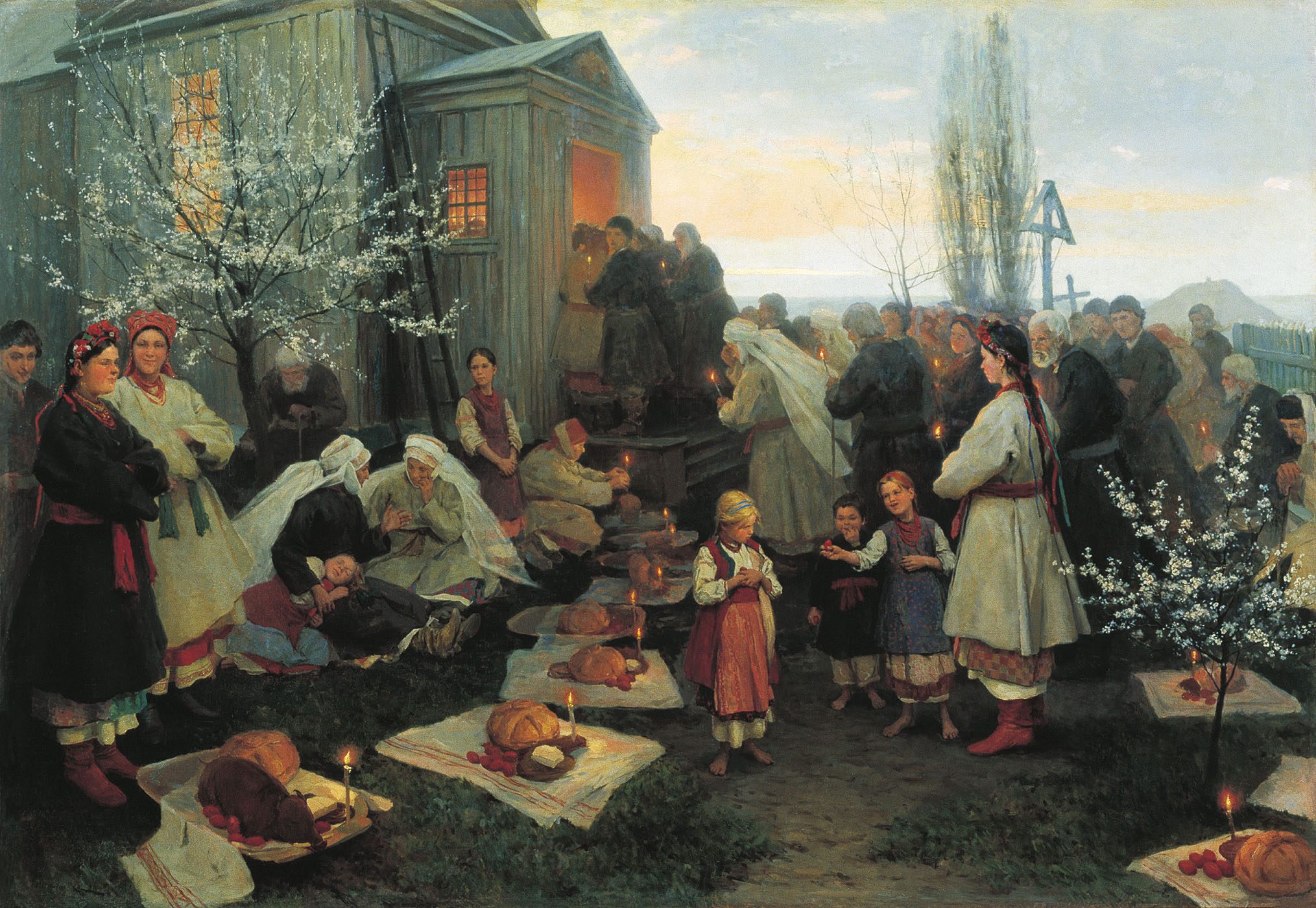 Пимоненко. Пасхальная заутреня в Малороссии. 1891