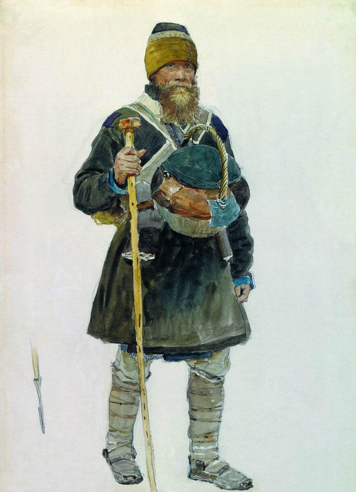 Репин И.. Паломник. Заостренный конец посоха паломника. 1881