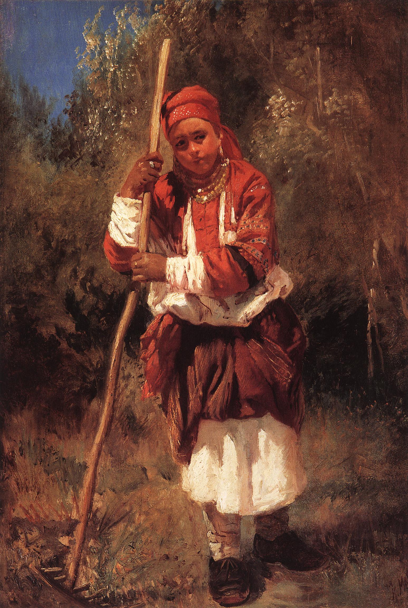 Маковский К.. Малороссиянка с граблями. 1870-е
