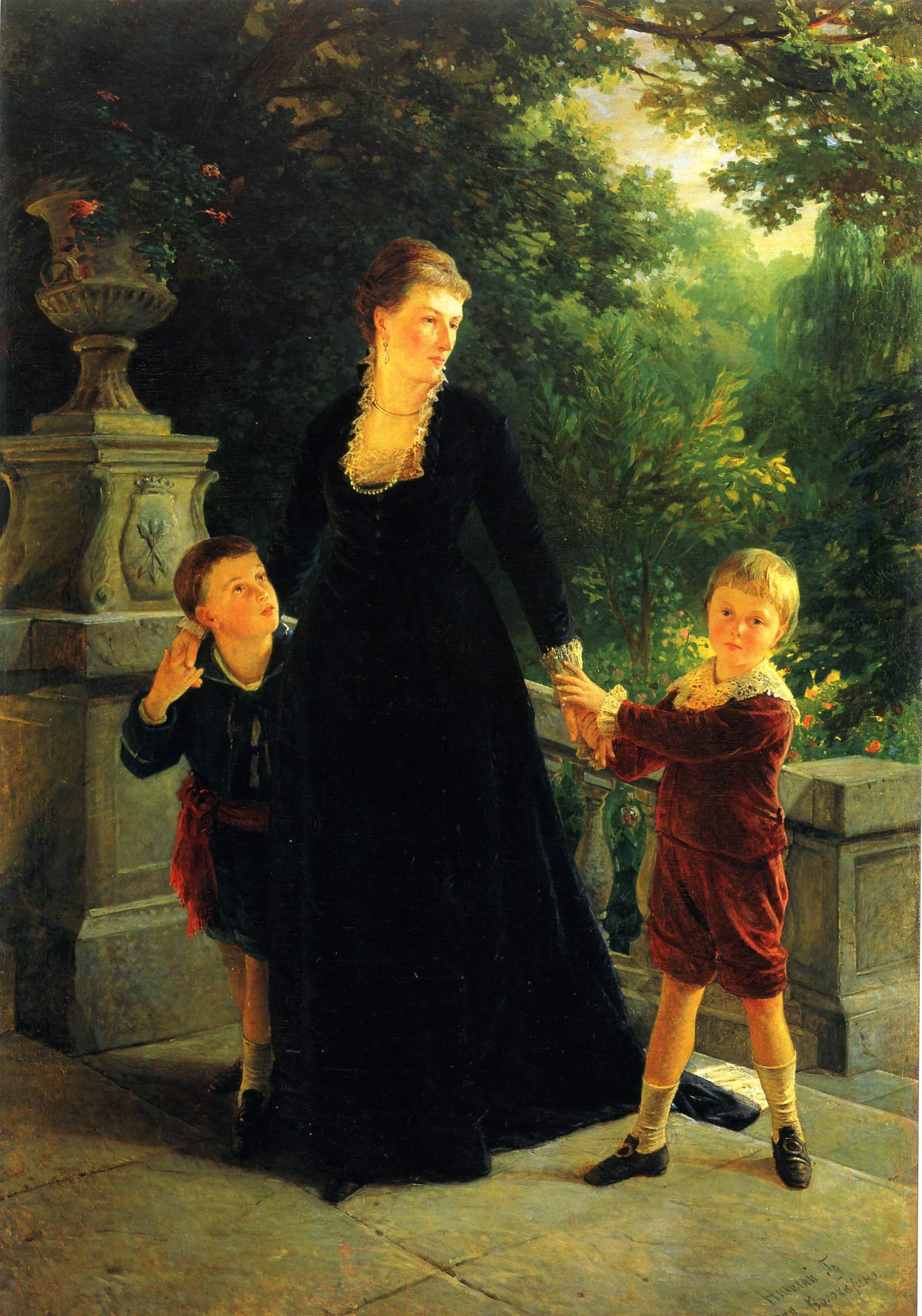 Ге Н.Н.. Портрет М.А. Скоропадской с сыновьями . 1879