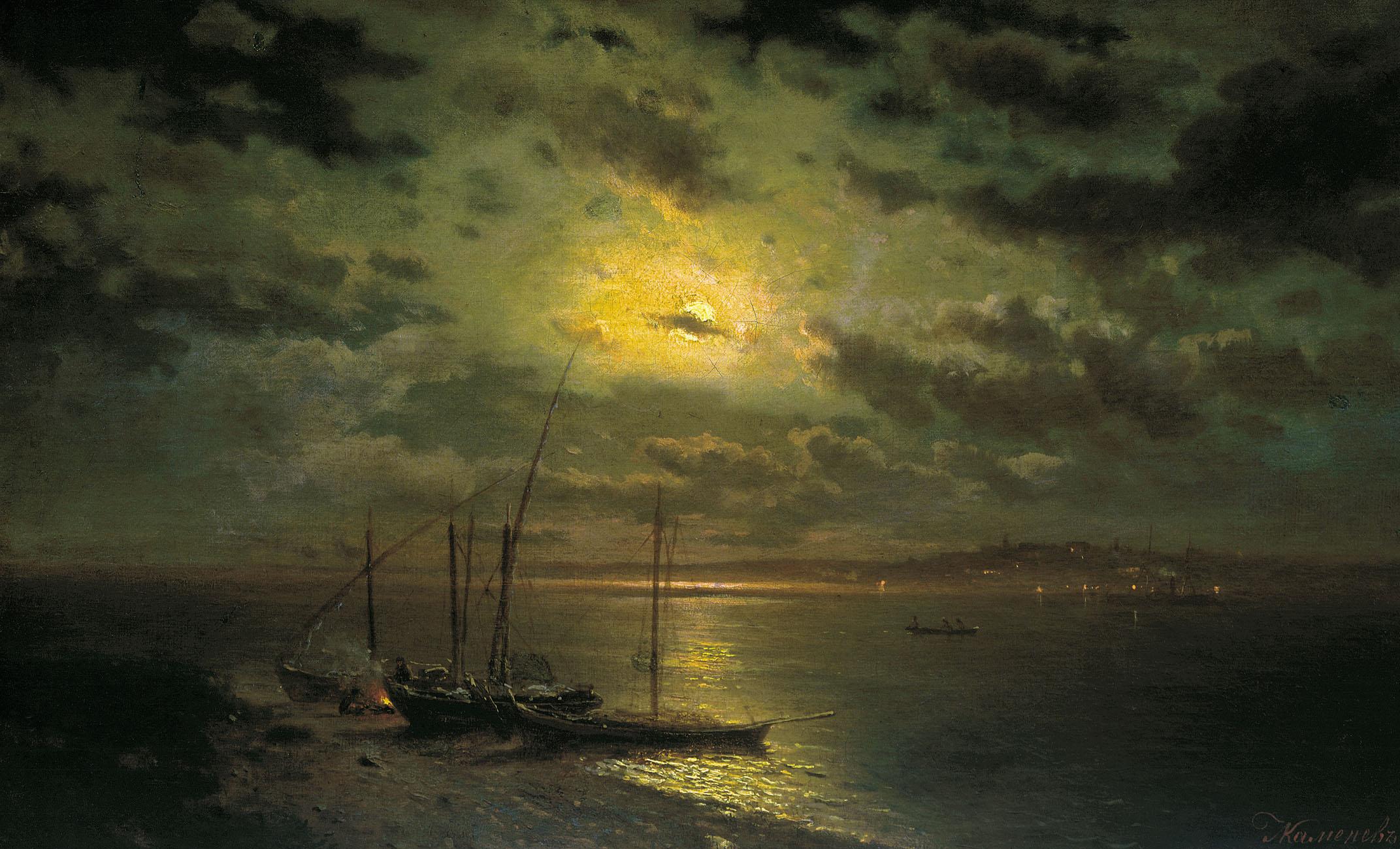 Каменев Л.. Лунная ночь на реке. 1870-е