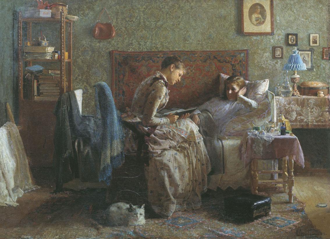 Горохов. У постели выздоравливающей. 1886