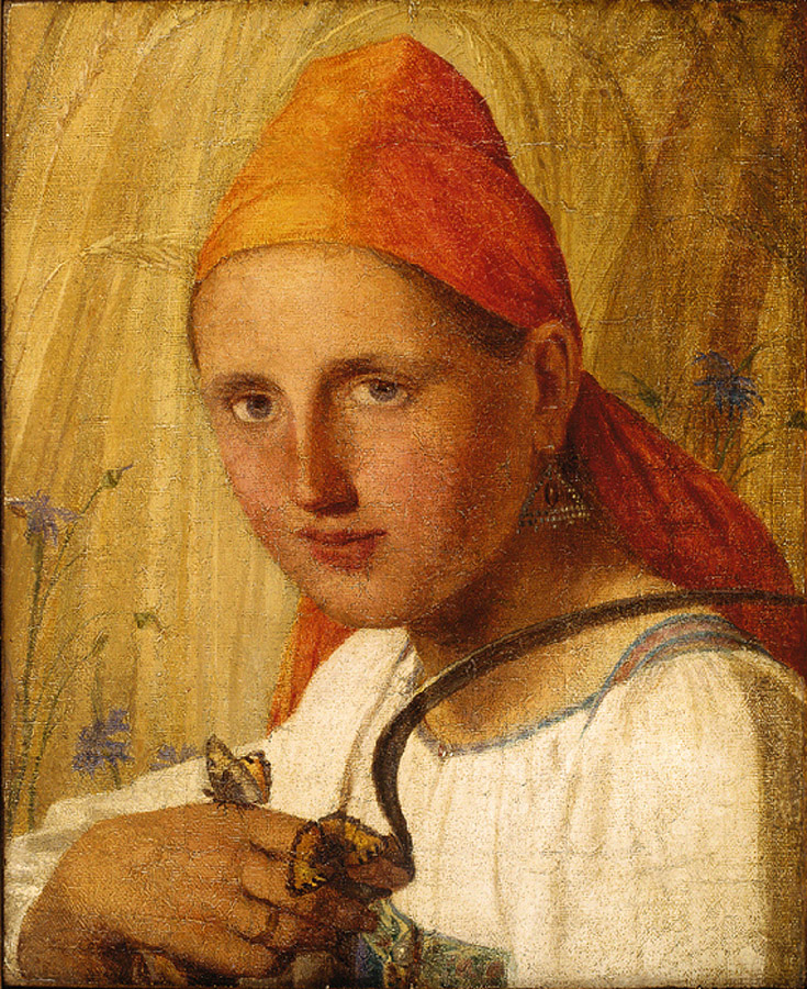 Венецианов. Крестьянка с бабочками