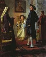 Неврев. Пётр I в иноземном наряде перед матерью своей царицей Натальей, патриархом Андрианом и учителем Зотовым
