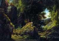 Каменев Л.. Скалистый вид в лесу